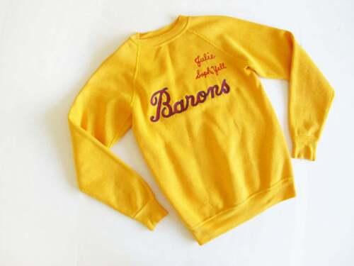 Vtg 60s Raglan Pullover Sweatshirt XS Gold Yellow Chain Stitch Embroidery
