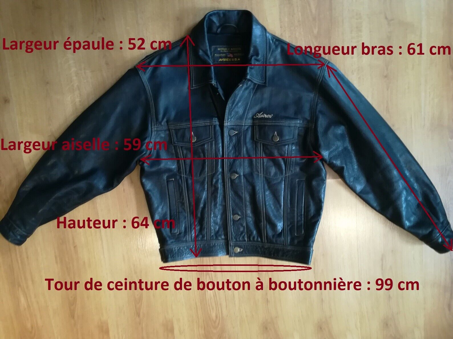 Avirex vintage blouson coupe classic cuir noir taille m, made usa