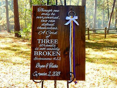 Cord Of Three Strands Wedding (Cord Of Three Strands, Wedding Signs, Unity Braids®, Customization Available)