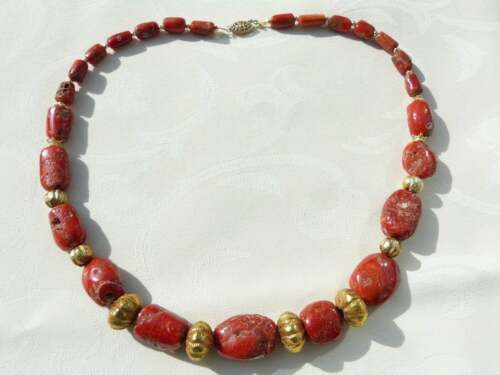 Italian Rustic Natural Coral Beads Necklace, 22 K Gold over Wax, 14 K spacers