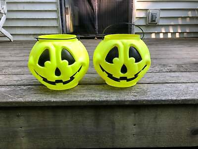 ONE Vintage General Foam Blow Mold Yellow Halloween Pumpkin Candy Pail Bucket