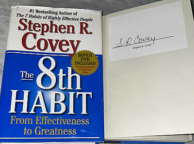 SIGNED The 8th Habit Book Stephen R. Covey Hardcover HC DJ DVD FREE SHIPPING