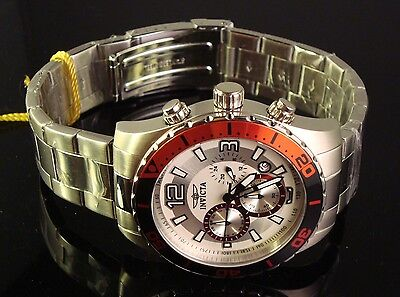 NEW MENS  INVICTA S.S. 45 MM  KRYSTERNA CRYSTAL CHRONO  W RED & BLACK DIAL
