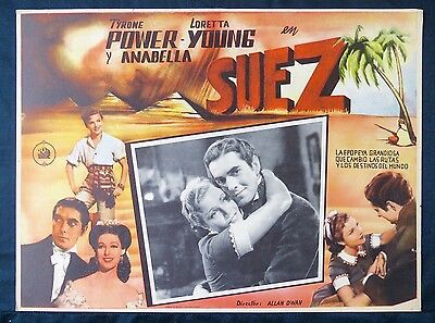 SUEZ Tyrone Power Loretta Young ORIGINAL BEAUTIFUL LOBBY CARD ART N MINT 1938