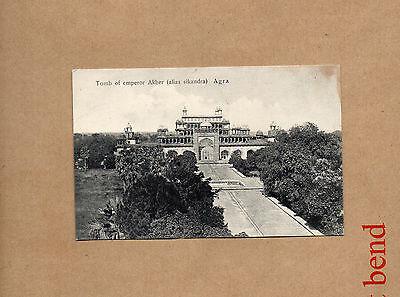vintage India Agra tomb of Emperor Akber sepia card ao1