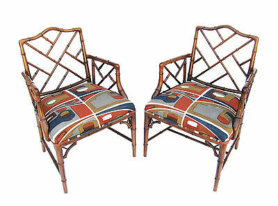Vintage Pair of Hollywood Regency Faux Bamboo Chippendale Armchairs 70's