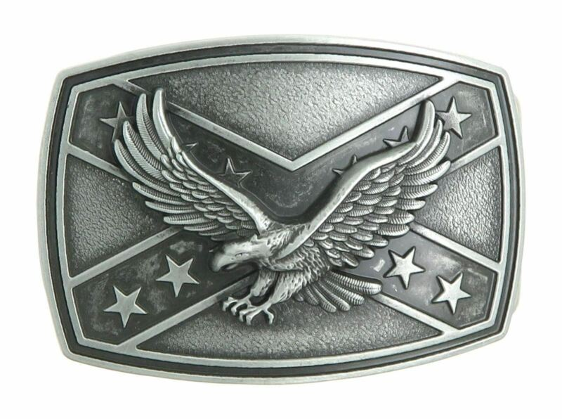 American Eagle Crossed Stars Metal Western Belt Buckle