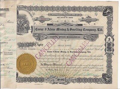 Coeur D Alene Mining   Smelting Company Ltd      1924 Stock Certificate