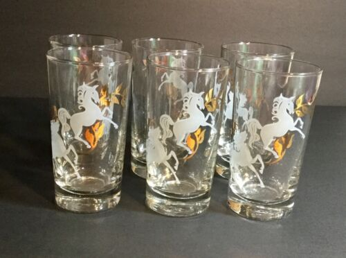 Vintage MCM Libbey Clear Drinking Glasses Horses White and Gold Set of 6 10 oz.