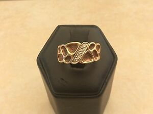 10K Yellow Gold with 4 Diamonds Men's Pinky Ring