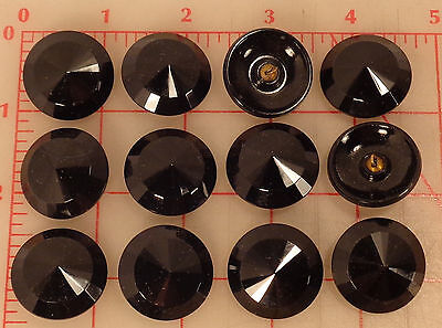 "12 large glass pointed center faceted buttons black shank Czech 27mm 1"" jet"