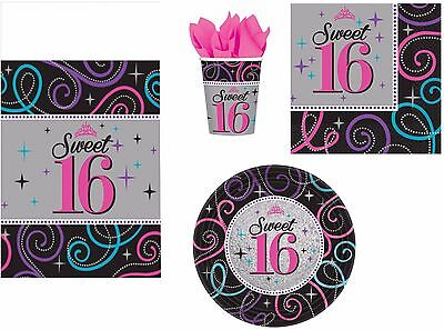 Sweet Sixteen Party (16th Birthday Party Napkins Plates Cups Tablecover Sweet Sixteen Black & Purple)