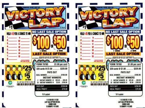 2 -320ct 1W VICTORY LAP seal card Bingo Pull Tab Tip Board  (1-$100) LS sign OPT
