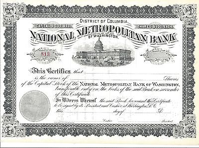 National Metropolitan Bank Of Washington     Unissued Stock Certificate