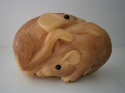 CARVED AND SIGNED MICE FIGURINE JAPANESE / CHINESE? RESIN?