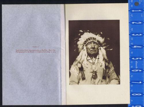 Sioux Chief Apeyohantanka, Big Man - 1934 Photogravure