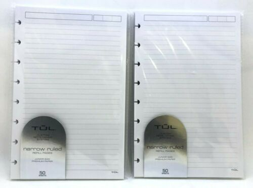 2 Pack of TUL Refill Pages, Junior Size, Narrow Ruled, 200 pages (100 sheets)