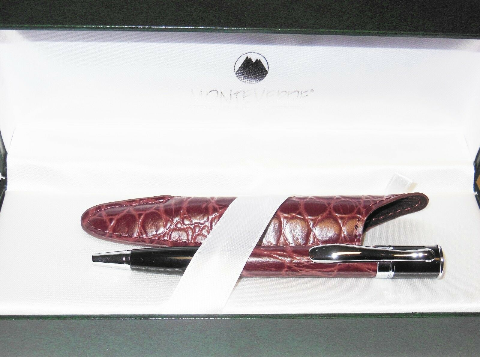 Monteverde Mini Jewelria Ballpoint Pen, Burgundy Leather, FREE Leather Pen Case Ballpoint Pens