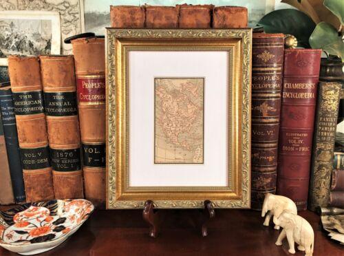Framed Original 1887 Antique Map NORTH AMERICA United States Canada Mexico