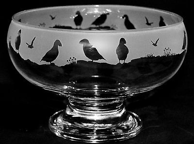 *PUFFIN GIFT*  Boxed & Footed GLASS BOWL with PUFFIN FRIEZE