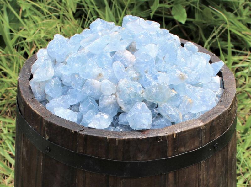 1/2 lb Bulk Lot Rough Natural CELESTITE, Sky Blue Crystal Healing Gemstones 8 oz