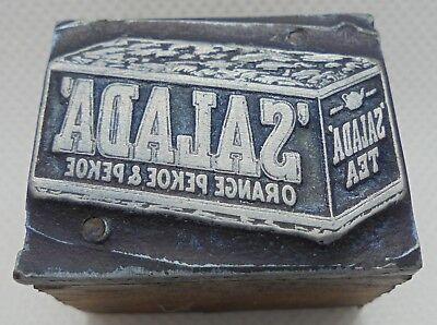 Vintage Printing Letterpress Printers Block Salada Drinking Tea Box 1 38 X 1
