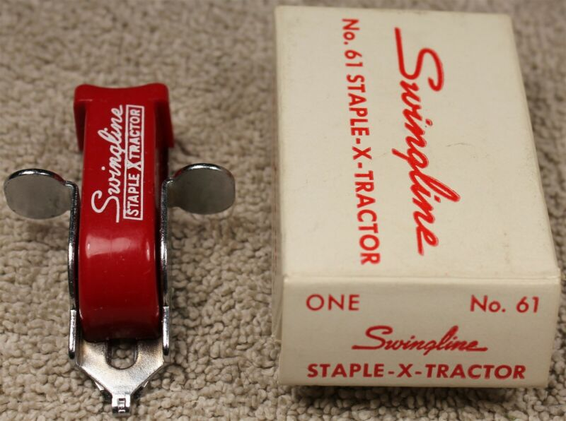 NOS Vintage Swingline No. 61 Staple-X-Tractor Red NIB Made in USA