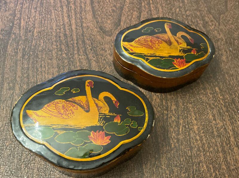 Two Vintage Japanese Lacquer Boxes, Small & Medium, Papier-mâché, Swans