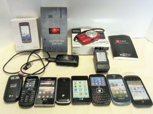 Lot Phone & Camera Stuff Boxes, Camera Charger Vintage Flip Phone 8 Dummy Phones