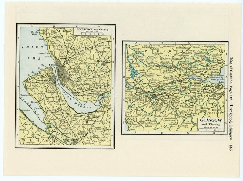 1932 Modern Atlas Vintage Map Pages - Liverpool map and Glasgow map