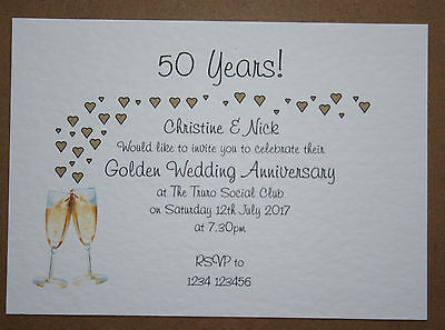 pk10 Personalised Golden Wedding Anniversary Invitations **Envelopes Supplied**