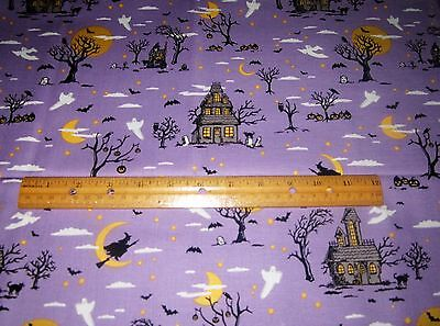 1 yard HAUNTED HOUSES TREES GHOSTS WITCH MOON CAT on PURPLE 100% Cotton Fabric