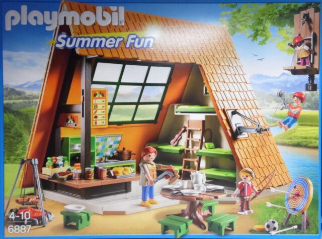Playmobil 6887 Großes Feriencamp Küche Imbis Schlafbereich Seilrutsche Grill NEU