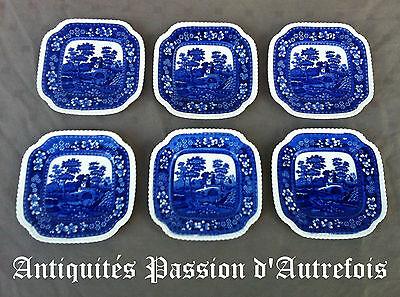B201616 - 6 sous tasses octogonales en faïence Anglaise