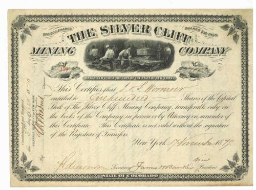 Silver Cliff Mining Company. Stock Certificate. Colorado. 1879