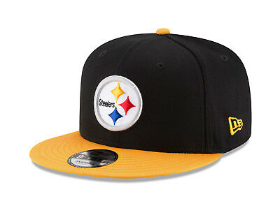 New Era Men 9Fifty Hat NFL Pittsburgh Steelers Snapback Baycik Black Gold Cap