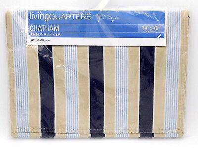 Living Quarters Chatham Table Runner 14x70  Blue Tan Navy Stripe Cotton