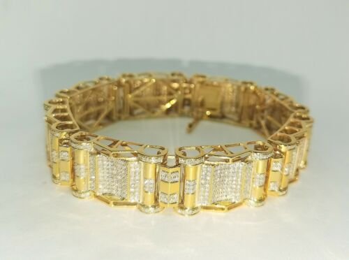"8.00 Carat Mens Diamond Bracelet 14k Yellow Gold 8.5"""