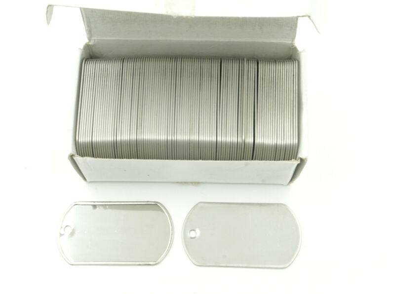 Box of 100 Stainless Steel Military Spec Army BLANK Dog Tags SHINY Finish