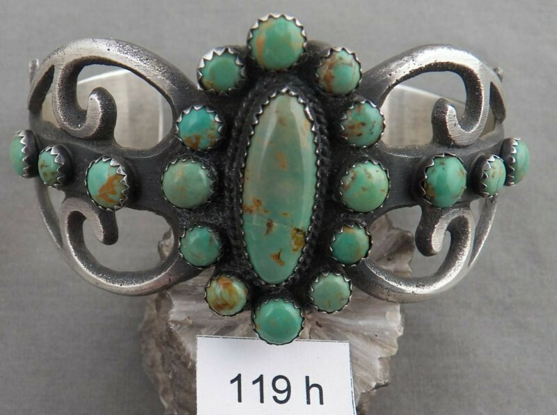 Navajo Albert & Jeanette Brown Sand Cast Turquoise & Sterling Bracelet!