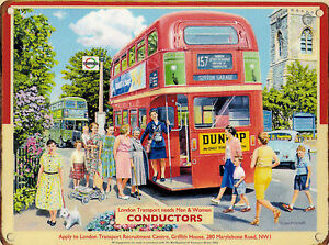 New 30x40cm LONDON BUS CONDUCTOR enamel style metal vintage advertising sign
