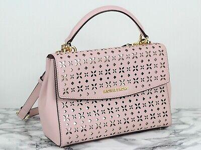MICHAEL KORS AVA Small Pale Pink Cut Out Saffiano Leather Satchel Shoulder Bag