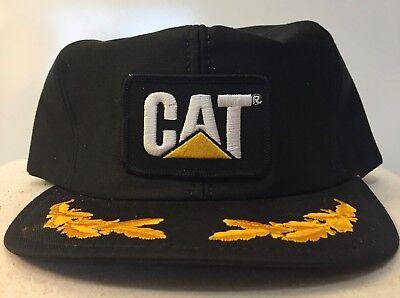RARE CAT Caterpillar Oak Leaf Design Hat Cap with Patch Snap Back USA Leaf Design Snap