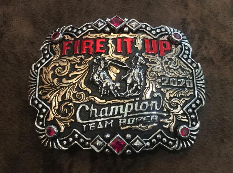 Trophy Rodeo Champion Belt Buckle Team Roper Roping Header Heeler
