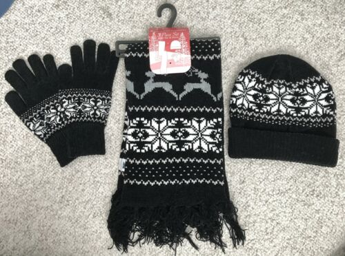 $25 Womens 3-Pc BEANIE SCARF GLOVES SET black snowflake sparkle winter knit hat