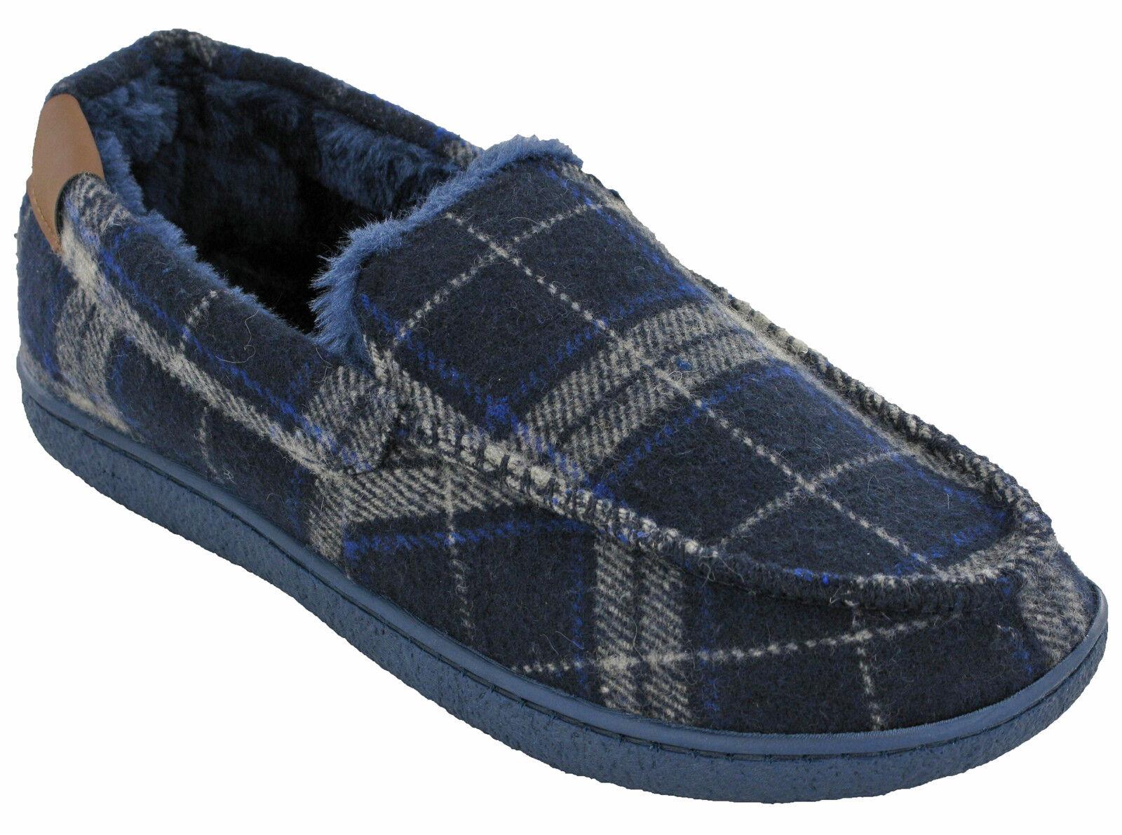 Cuscino a piedi Mens pantofole mocassino caldo Check interno foderato Tweed  inverno coperta all aperto bde5c18458e