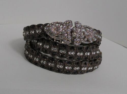 """Vintage Rhinestone Crystal Studded Elastic Dress Belt  29""""- 33"""""""