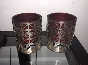 Metal candle holders and candles - bath & body works