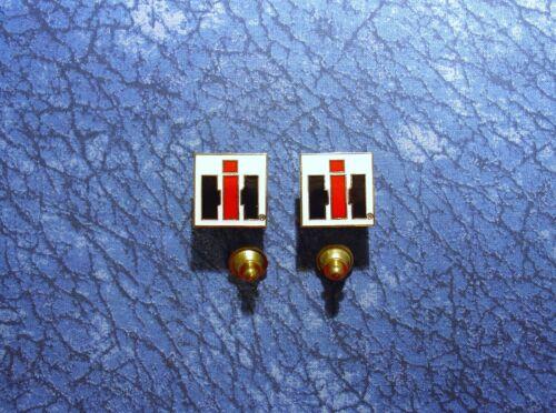 2 ~ iH International Harvester Heavy Equip/Farm Logo Sm. Lapel/Hat Pin Tie Tacks