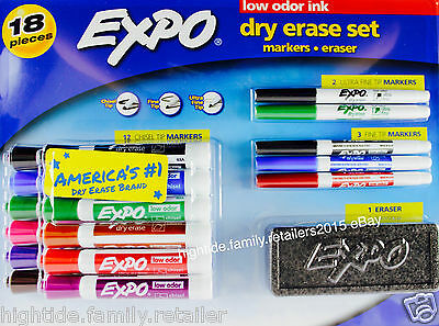 Expo Dry Erase Markers Eraser Set Chisel-tip Ultra-fine Bold 18 Pieces